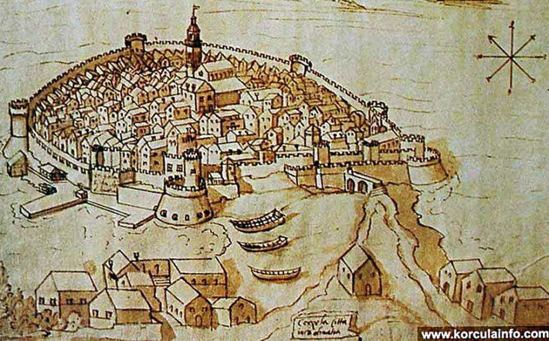 Корчула. Рисунок XVII века
