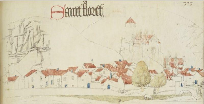 Сен-Флоре. Рисунок замка и города из книги Гийома Ревеля (XV век)