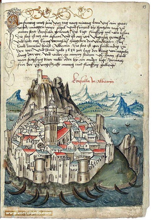 Корчула. Рисунок Конрада фон Грюненберга (1486)