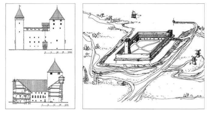 Куресааре. План замка Аренсбург в XIII (справа) и XIV (слева) веках
