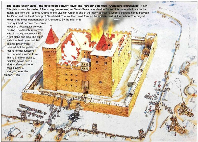 Куресааре. Рисунок осады замка Аренсбург в 1434 году
