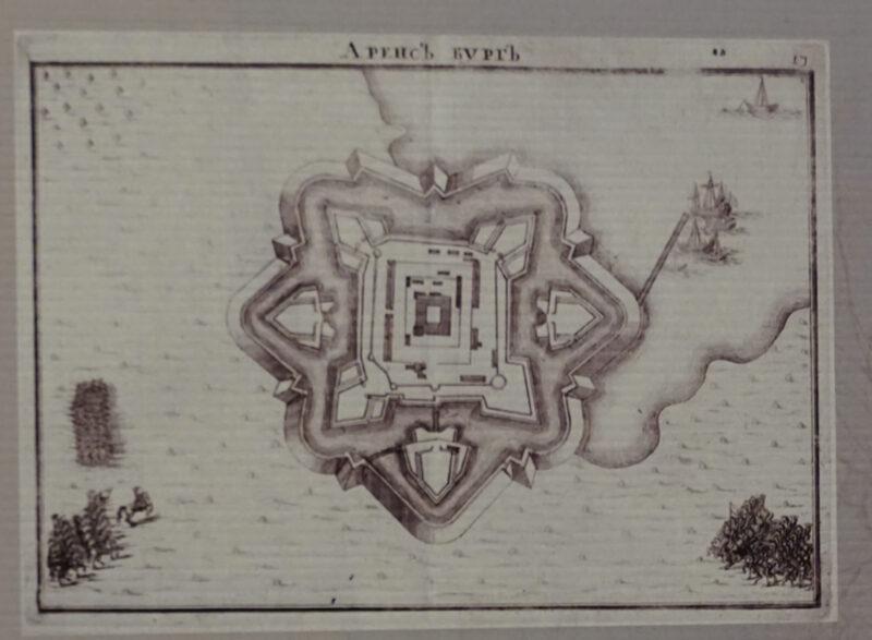 Куресааре. Гравюра из Книги Марсова, изображающая крепость Аренсбург в 1712-13 годах