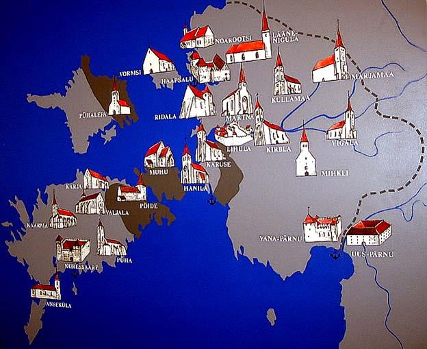 Церкви Сааремаа.  Карта-схема Эзель-Викского епископства из музея в Хаапсалу