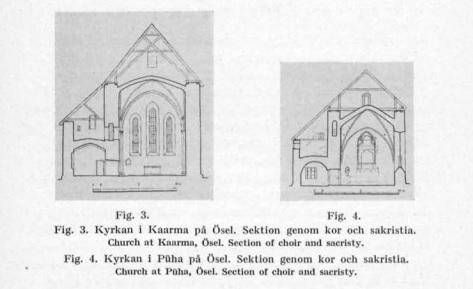План церквей в Каарма и Пюха (хор и ризница). Из книги Армина Туулзе Försvarskyrkorna i Estland