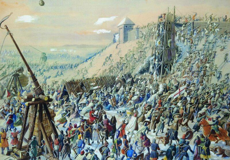 Городища Сааремаа. Изображение штурма городища Муху крестоносцами
