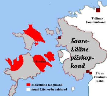 Зонебург. Карта владений Ордена на острове