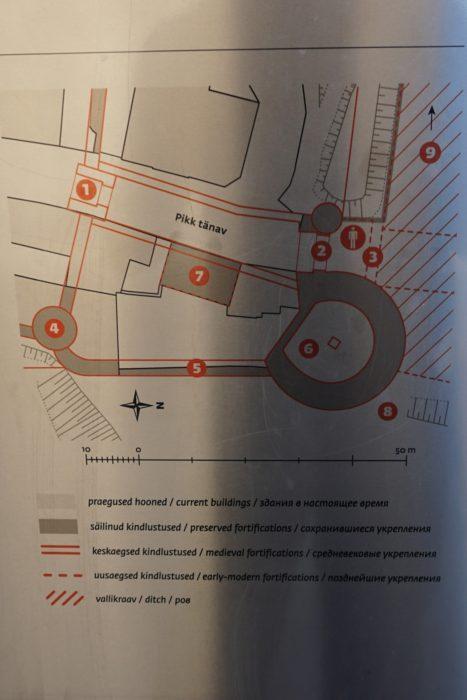 Таллин. Схема расположения Больших Морских ворот на плане современного города
