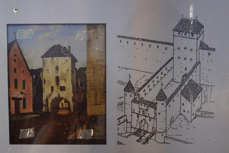 Таллин. Изображение надвратной башни ворот Виру и их реконструкция