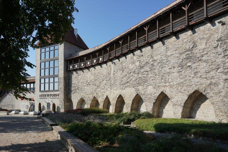 Таллин. Девичья башня и фрагмент стены около нее со стороны города