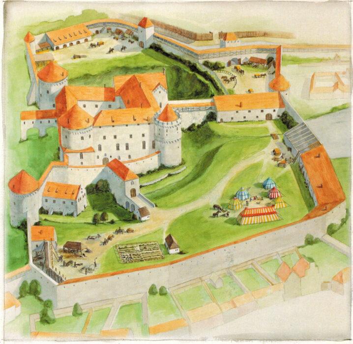 Цесис. Рисунок-реконструкция замка на момент около 1550 года