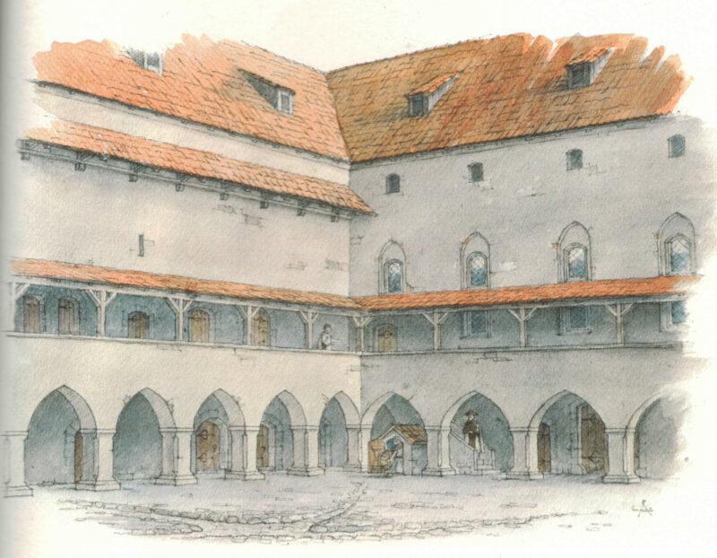 Цесис. Рисунок-реконструкция внутреннего двора замка (на 1550 г.)