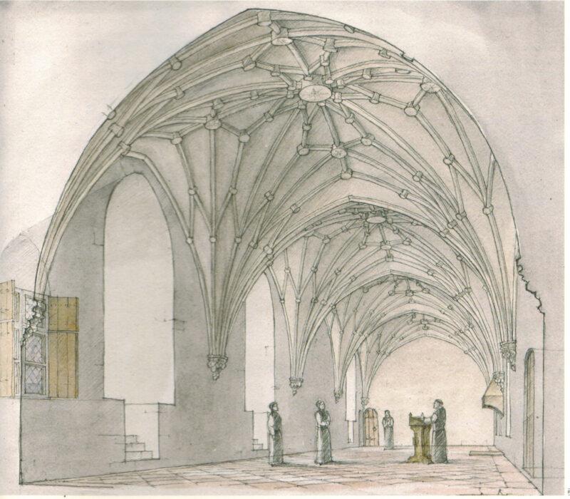 Цесис. Рисунок-реконструкция Зала Капитула (на 1550г.)