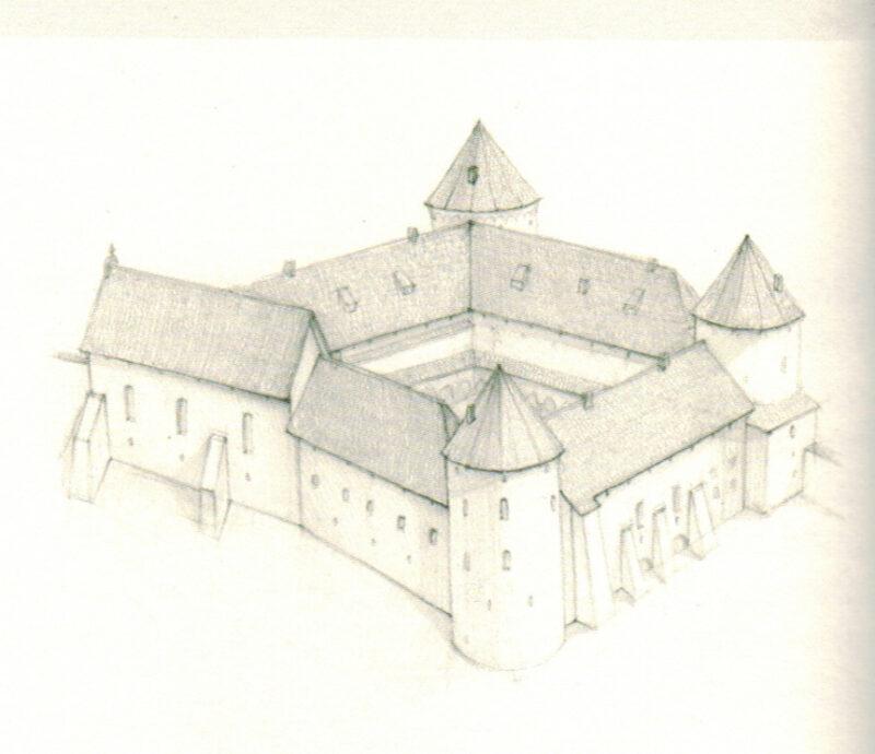 Цесис. Рисунок-реконструкция главного здания