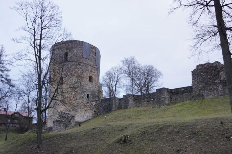 Цесис. Западное крыло и северная башня с внешней стороны