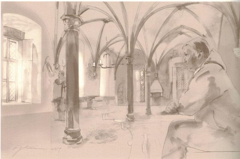 Цесис. Рисунок-реконструкция трапезной