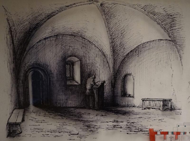 Цесис. Рисунок-реконструкция сводчатой комнаты в сторожке