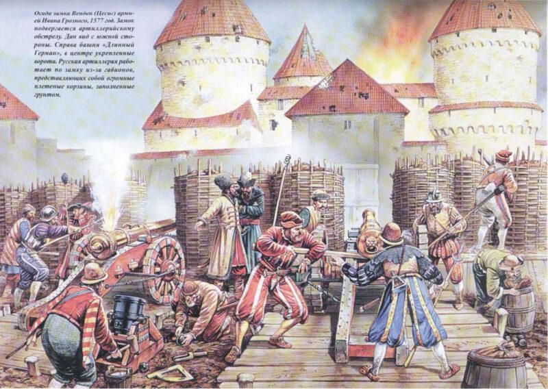 Цесис. Рисунок осады замка войсками Ивана Грозного