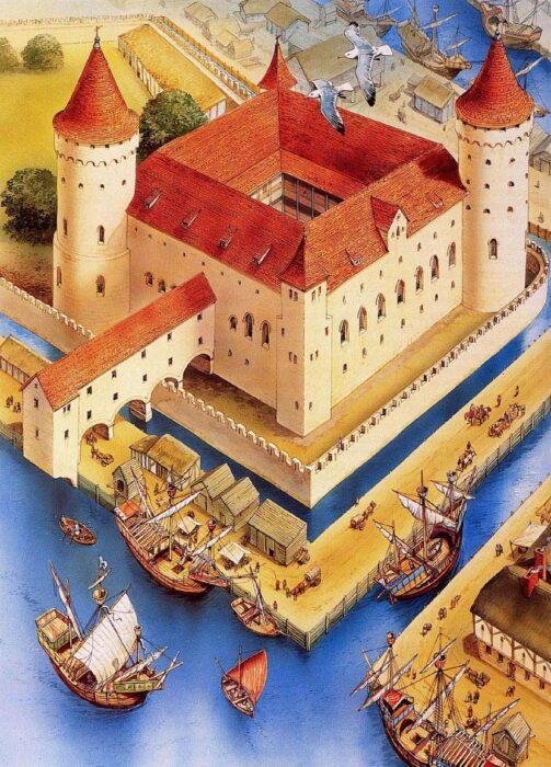 Рижский замок. Рисунок-реконструкция на начало XVI века