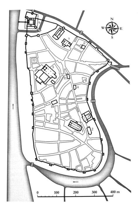 Рига. План города к началу XVI века